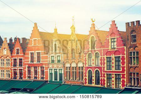 Medieval city Brugge Belgium. Beautiful Grote Markt square.