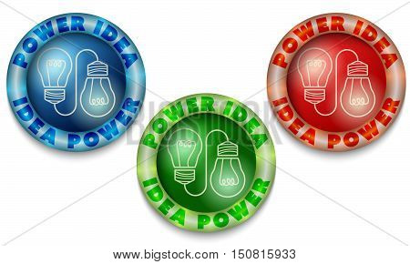 Three icons with color back light and idea symbol