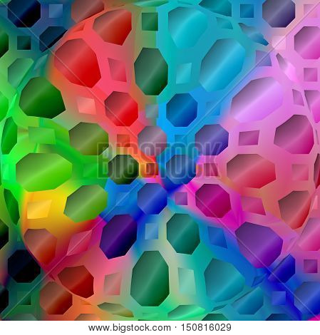 Abstract coloring background of the spectrum gradient with visual  mosaic, octagon, wave, spheres and pinch effects.