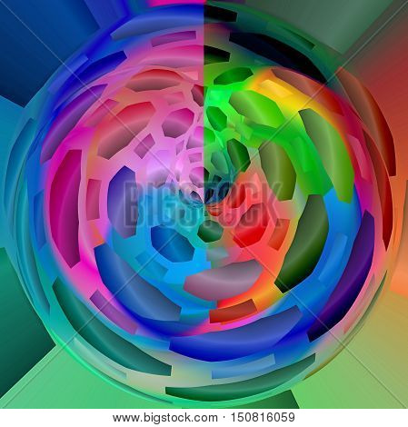 Abstract coloring background of the spectrum gradient with visual mosaic,octagon,spherize and poolar coordinates effects.Good for your project design