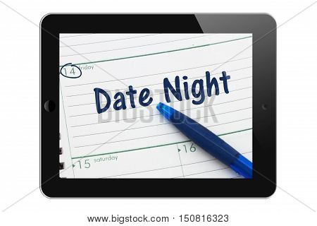 Planning your Date Night A tablet display with pen and a day planer with text Date Night 3D Illustration