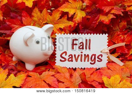 Fall Savings message Some fall leaves and a piggy bank and a gift tag text Fall Savings