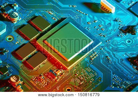 Electronic circuit board close up. Background can use the Internet, print advertising and design
