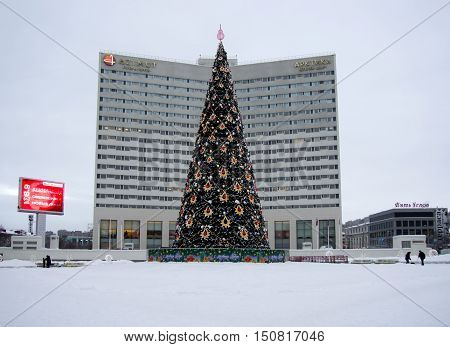 Murmansk, Russia - January 28, 2015: Christmas tree stands in the square in the city of Murmansk.
