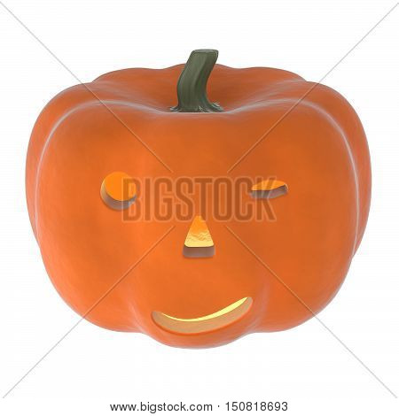 a 3D rendering of an orange pumpkin with a drunk look.