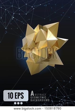 Abstract gold geometric in paper shape glowing on dark polygonal background