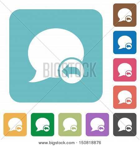 Flat Reply blog comment icons on rounded square color backgrounds.