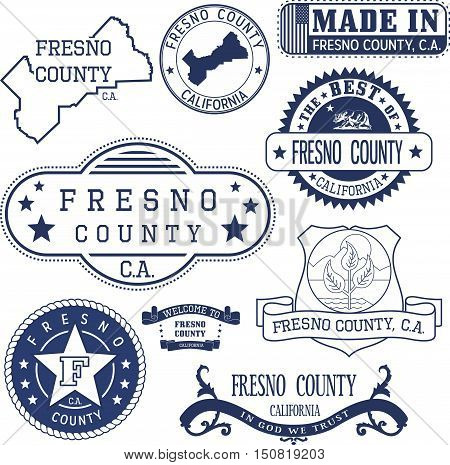 Fresno County, Ca. Set Of Stamps And Signs