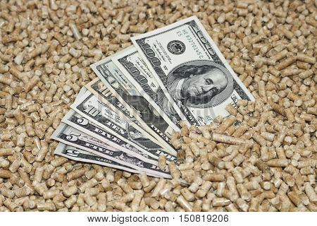 Wood pellets and money, dollars. The concept of savings when using eco-friendly materials.Recycling of waste production .Biofuels . The cat litter.