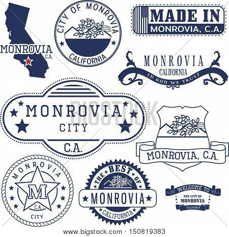 Monrovia City, Ca. Stamps And Signs