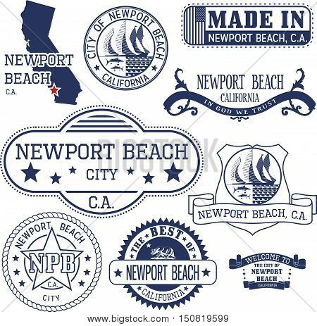 Newport Beach City, Ca. Stamps And Signs