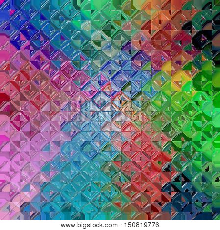Abstract coloring background of the spectrum gradient with visual mosaic,octagon and plastic wrap effects.