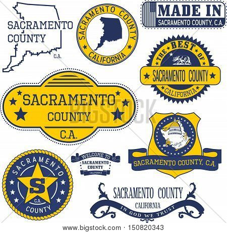 Sacramento County, Ca. Set Of Stamps And Signs