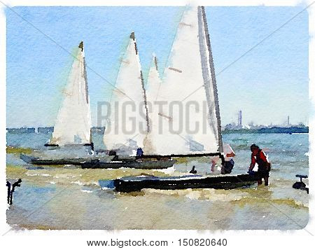 Digital watercolor painting of small white sailing boats in shallow water with people in the water getting them ready to sail