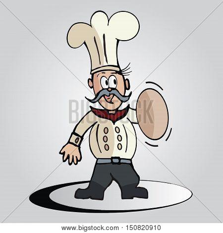 Cartoon Chef with Cook Cap in Vector Format