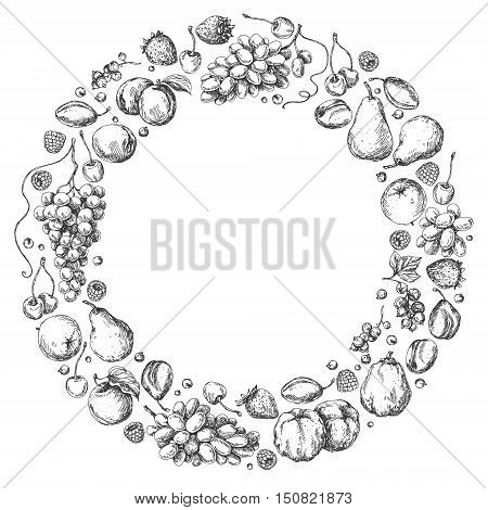 Round monochrome frame of different fruits. Hand drawn sketch of apple pear grape quince plum apricot cherry and berries.