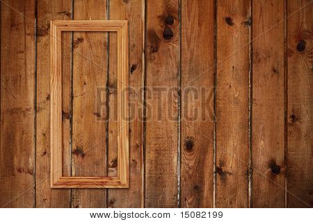 picture frame on old wooden wall