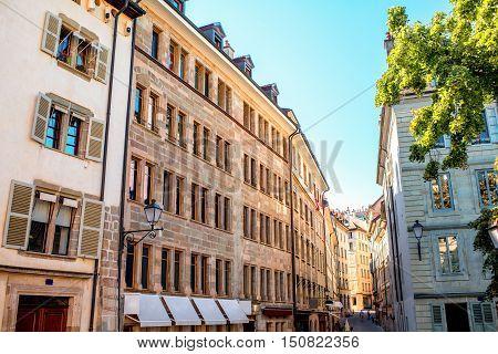 Buildings in the old town of Geneva city in Switzerland