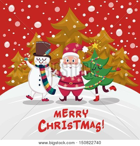Christmas companions cartoon design with santa claus snowman and decorated tree on winter forest background vector illustration