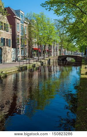 Small Houses Of The Seventeenth Century Along The Canals In Delft, Netherlands