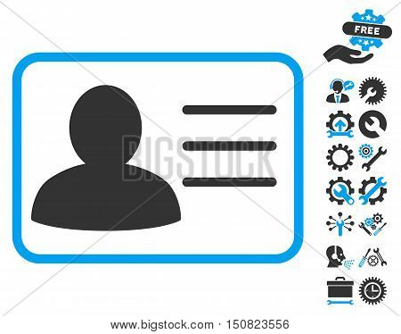 Account Card pictograph with bonus tools pictograph collection. Vector illustration style is flat iconic bicolor symbols, blue and gray colors, white background.