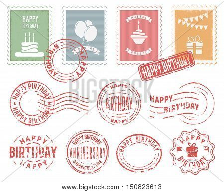Colorful decorative stamps and postmarks set for birthday greeting postcard letter flat vector illustration