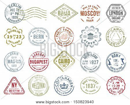 Set of isolated postal stamps of various countries shape color and different departure cities flat vector illustration