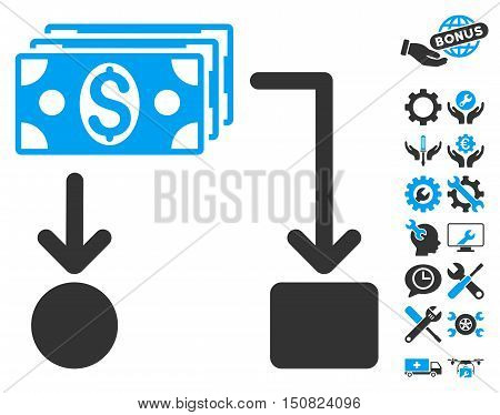 Cashflow icon with bonus tools icon set. Vector illustration style is flat iconic bicolor symbols, blue and gray colors, white background.