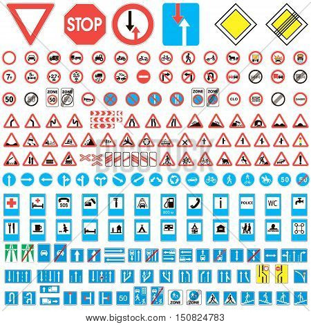 Different highly detailed and fully editable vector traffic road sign collection. Set of road sign collection warning, priority, prohibitory symbol. Road sign european and american, vector illustration for print or website design