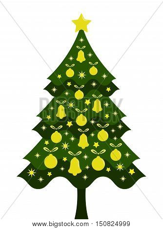 vector christmas tree isolated on white background
