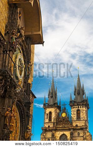 Prague astronomical clock and Tyn Church of Our Lady