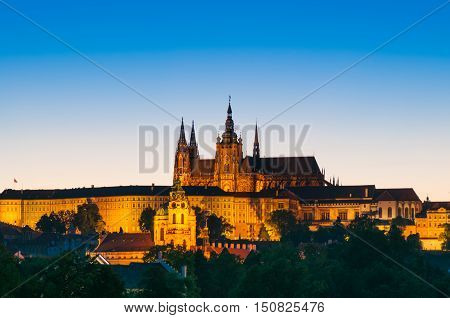 View on St.Vitus cathedral in Prague Castle at night Czech Republic