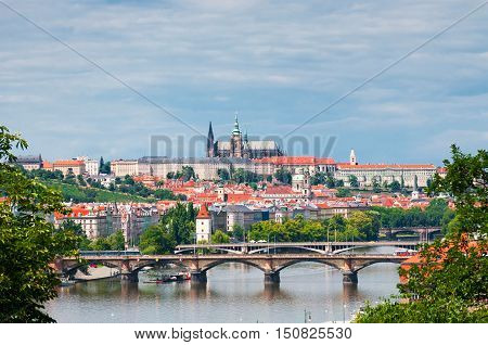 View on Prague town and St.Vitus cathedral in Prague Castle Czech Republic
