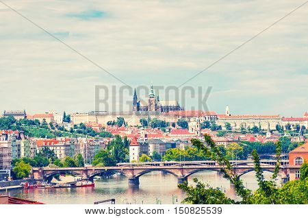 View on Prague town and St.Vitus cathedral in Prague Castle Czech Republic. Toned image