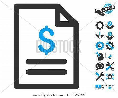 Price List icon with bonus tools pictogram. Vector illustration style is flat iconic bicolor symbols, blue and gray colors, white background.