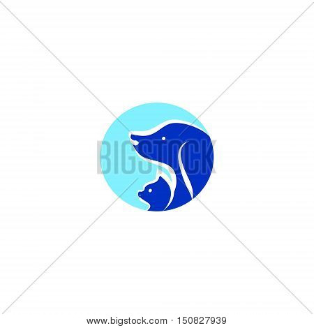Round icon on white background with the image of Pets. The head of the dog and cat vector