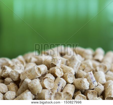 Wood pellets on a green background. Biofuels. Alternative biofuel from wood chips . The cat litter.