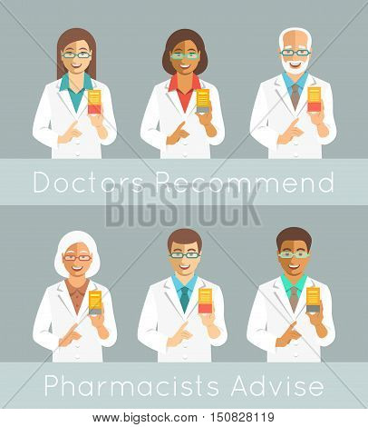 Pharmacists holding a box with medicine in hand and points finger at it. Different medical specialists promote drug. Caucasian and black men and women young and senior. Doctors advice recommendation