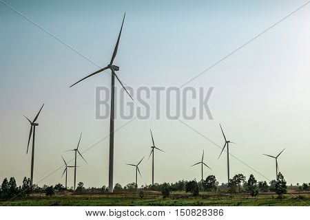 Wind turbine the Huay Bong. Nakhon Ratchasima Thailand. It is the largest producer of wind power in the country.