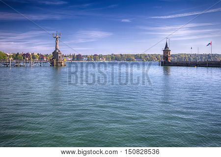 Imperia statue in harbor of Konstanz city with a view to lake Constance. Konstanz is a city located in the south-west corner of Germany on borders with Switzerland.