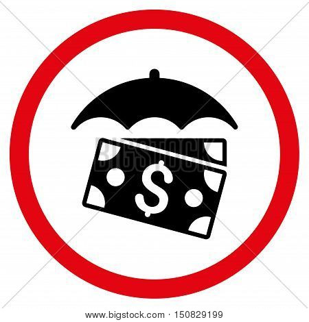 Banknotes Umbrella vector bicolor rounded icon. Image style is a flat icon symbol inside a circle, intensive red and black colors, white background.