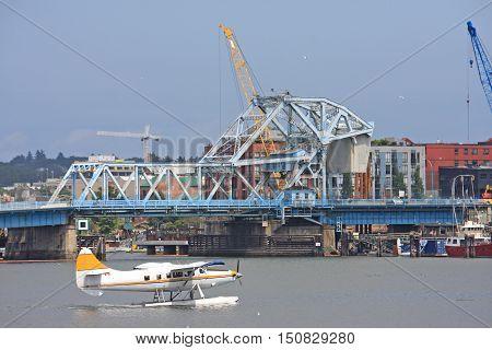 Seaplane by the Johnson Street Bridge, Victoria