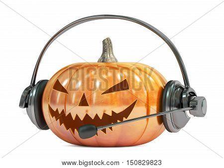 Halloween pumpkin with headset or headphones 3D rendering