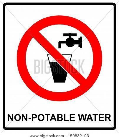 Do not drink water prohibition sign. vector illustration Glass of water and valve. Non-potable water warning sign. Tap water