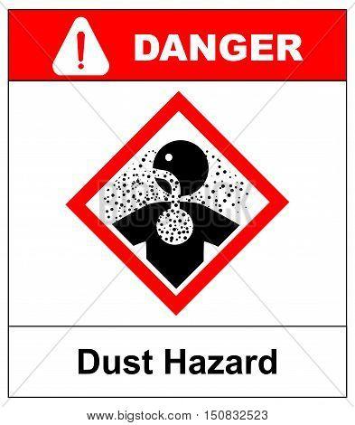 Danger banner Dust Hazard sign, vector illustration. Warning Sticker label for public places in red rhombus