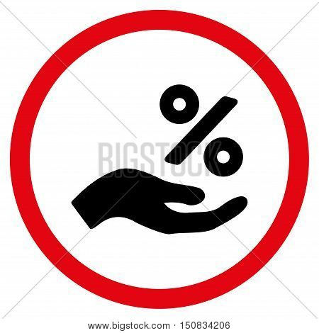 Percent Offer Hand vector bicolor rounded icon. Image style is a flat icon symbol inside a circle, intensive red and black colors, white background.