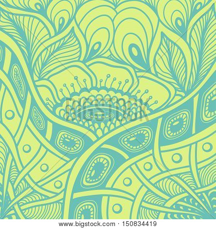 Background  with  Zen tangle or Zen doodle flowers pattern in green or for wallpaper or  for packed something