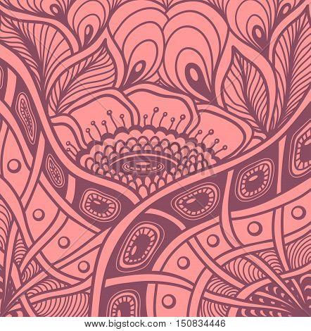 Background  with  Zen tangle or Zen doodle flowers pattern in pink or for wallpaper or  for packed something