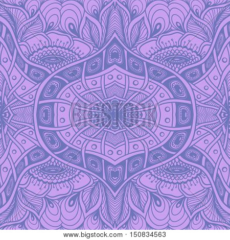 Seamless pattern  with  Zen tangle or Zen doodle flowers in lilac or for wallpaper or  for packed something