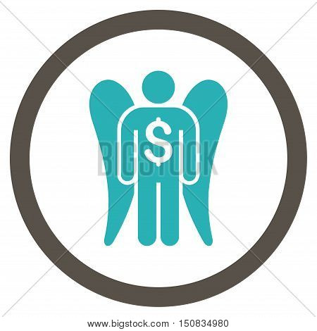 Angel Investor vector bicolor rounded icon. Image style is a flat icon symbol inside a circle, grey and cyan colors, white background.